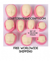 Silicone Face Moulds. Head mould. Barbie face. Face mold. Face mould. Silicone mould. Head mold.  10 Molds All different faces Free worldwide shipping